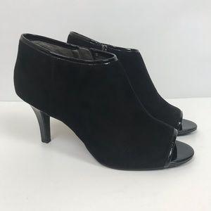 Bandolino suede black peep toe bootie heels 457